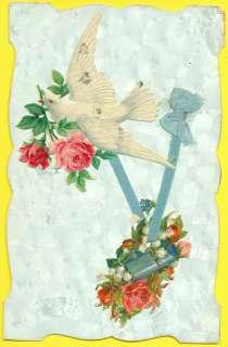 CPA DÉCOUPIS AJOUTIS ROSES MUGUET OISEAU RUBAN EMBOSSED CUT FLOWERS