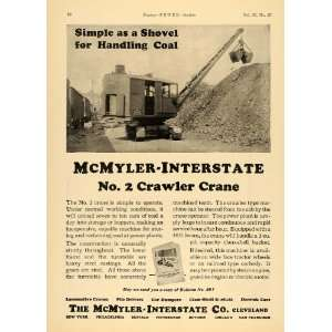 1924 Ad McMyler Interstate Shovel Crawler Crane No. 2   Original Print