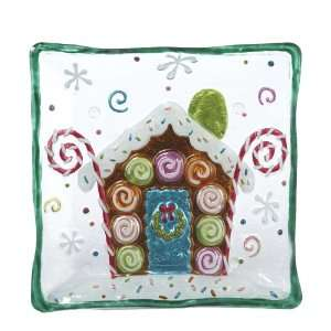 Kurt Adler J9810 Decorative Glass Square Candy House Plate