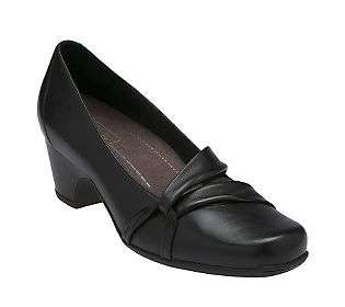 Clarks Sugar Plum Black Leather Mid Heel Pump   QVC