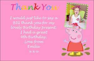 Peppa Pig Personalised Birthday Invites Thank you cards
