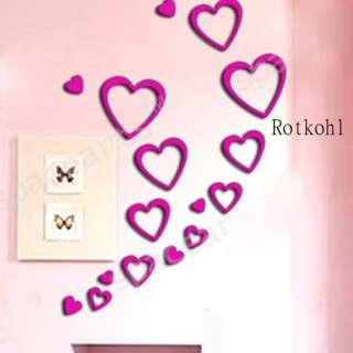 Romantic Love Heart shape 3D Indoor Wall Art Deco 2m2