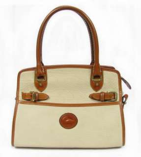 Vintage Dooney & Bourke Beige Brown Leather Satchel Shoulder Bag