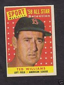 1958 Topps #484 Ted Williams EXMT MLB AS All Star Card