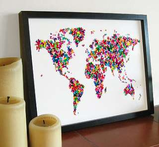 butterflies world map art print by artpause