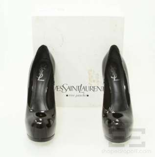 YSL Yves Saint Laurent Black Patent Leather Tribtoo Pumps Size 42