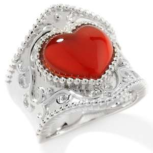 Art of Asia Red Agate Sterling Silver Heart Ring