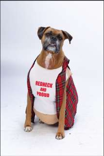 Plaid, beer bellied doggy tunic. Redneck and proud t shirt.