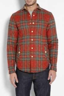 Rag & Bone SHIRT SHIRT  Red Plaid Quilted Fletcher Over Shirt by Rag