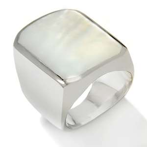 Stately Steel Rectangular Mother of Pearl Stainless Steel Ring