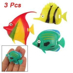 Colorful Plastic Tropical Fish Decor 3 Pcs for Aquarium