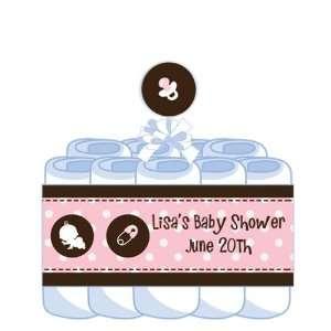 Modern Baby Girl Pink Polka Dots Diaper Cake Baby