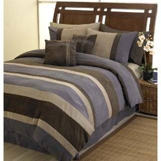 Suede Luxury Bed in a Bag Comforter 6 piece Bedding Set   King Size