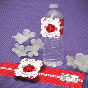 Personalized Modern Ladybug Birthday Party Water Bottle Labels  Toys