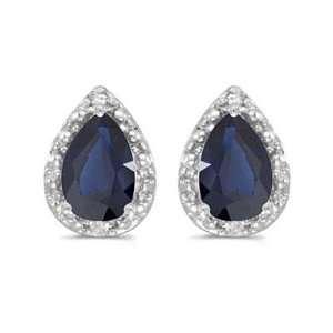14k White Gold September Birthstone Pear Sapphire And Diamond Earrings