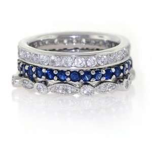 Bling Jewelry Sterling Silver Blue Sapphire Color CZ Stackable Swing