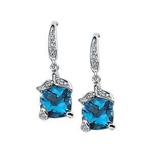 Gold Swiss Blue Topaz Diamond Earring .06ct 7x7   JewelryWeb Jewelry
