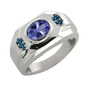Ct Oval Blue Tanzanite and Blue Diamond 10k White Gold Ring Jewelry