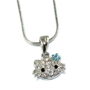 Cute Blue Flower BOW Kitty Charm Necklace Silver Tone