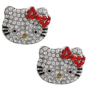 of Hello Kitty rhinestone earrings with red bow Arts, Crafts & Sewing