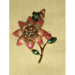 Multi Color Rhinestone Flower Gold Tone Brooch Pin