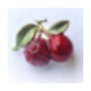 24k Gold Plated Swarovski Crystal Cherries Design Brooch/Pin Jewelry