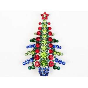 Sparkle Color Crystal Rhinestone Christmas Tree Brooch Pin Jewelry