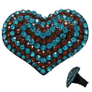 Ring Covered in Turquoise and Brown Crystals with Stretch Band