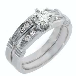 Gold Round Diamond Engagement Ring Wedding Band Bridal Set 1 Carat