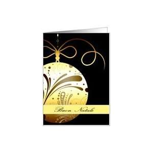 Buon Natale, Merry Christmas in Italian, glass ornament, gold Card