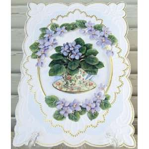 Carol Wilson Thank You Card African Violets in Teacup