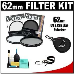 Vivitar 62mm UV & Circular Polarizer Glass Filter + Filter Case