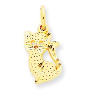 14k Kitty Cat Charm Jewelry
