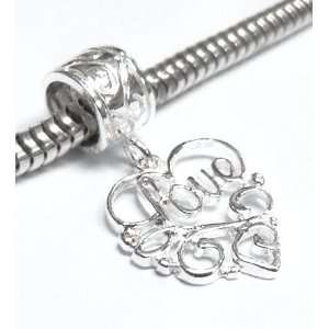 Love Dangle Bead for European Charm Bracelets Arts, Crafts & Sewing