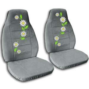 2 Steel grey seat covers with Daisies for a 2012 Nissan