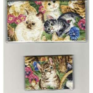 Checkbook Cover Debit Set Kitten Kitty Cat Garden
