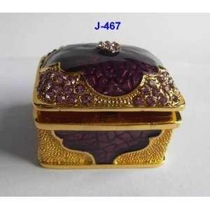 Purple Enamel Jewelry Trinket Box W Crystal Corners