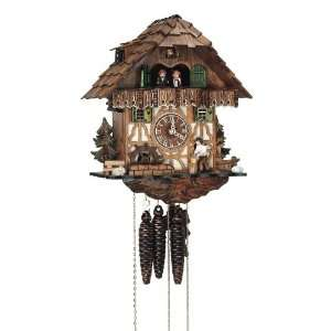 Cuckoo Clock Black Forest house with moving wood chopper and mill