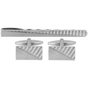 Brushed Engine Turned Cufflink & Tie Bar Set Jewelry