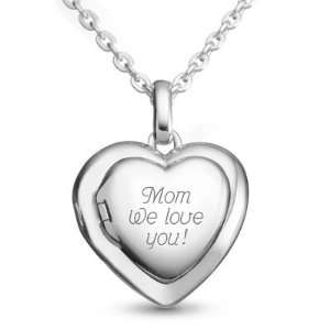 Personalized Sterling Silver Family Heart Locket Gift Jewelry