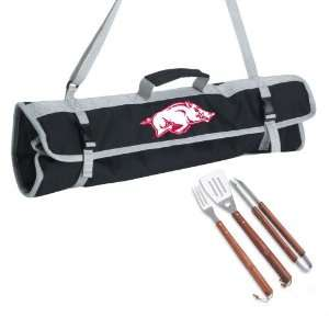 Stainless Steel 3 Piece BBQ Set with Black Tote Bag