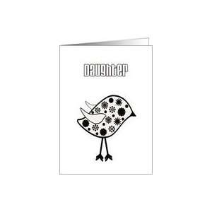 Daughters Birthday, cute, black & white digital art bird with flowers