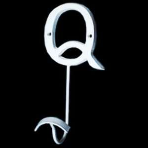 Hooks White Wrought Iron, Decorative Letter Q Hook