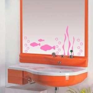 Pink Aquarium Fish Mirror or Wall Decal