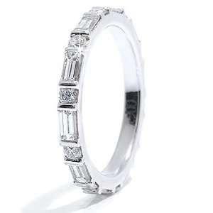1.90CT Round and Emerald Diamond Eternity Ring 14k Gold Jewelry