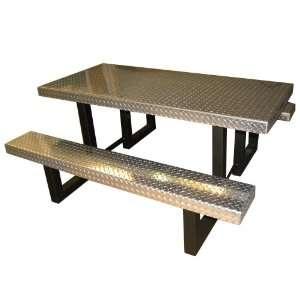 Aluminum Diamond Plate Picnic Table, Silver Patio, Lawn & Garden