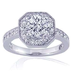 NEW Round Cut Halo Diamond Engagement Ring Pave 14K WHITE GOLD SI2 H