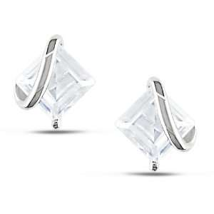 CT TGW Square Created White Sapphire Ear Pin Stud Earrings Jewelry
