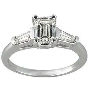 14k Gold Emerald Cut Tapered Baguette Diamond Ring (1.24