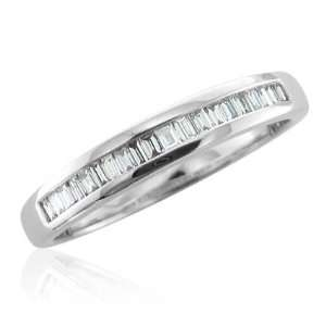 14K White Gold Emerald Cut Diamond Wedding Ring Band (GH, I1 I2, 0.25